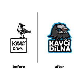 redesign loga, nové logo malování na obličej Kavčí Dílna